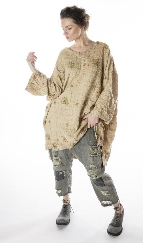 Quilted Silk Oversized Francis Pullover with Distressed Edges, Magnolia Pearl
