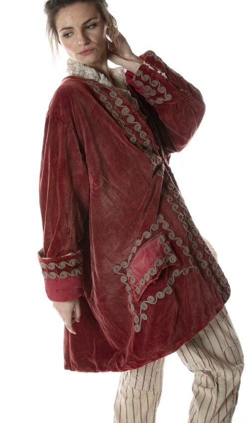 Cotton Velvet Kryssa Coat with Embroidery, Hand Mending, Fading and Antique Hooks, Magnolia Pearl