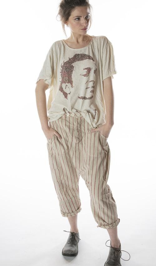 Woven Cotton French Army Pants with Patching, Distressing, Fading and Button Waist with Buckle at Back, Magnolia Pearl