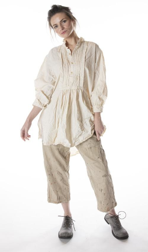 French Cotton Poplin Cordelia Night Shirt with with Button Placket and Pintuck Bib, Magnolia Pearl