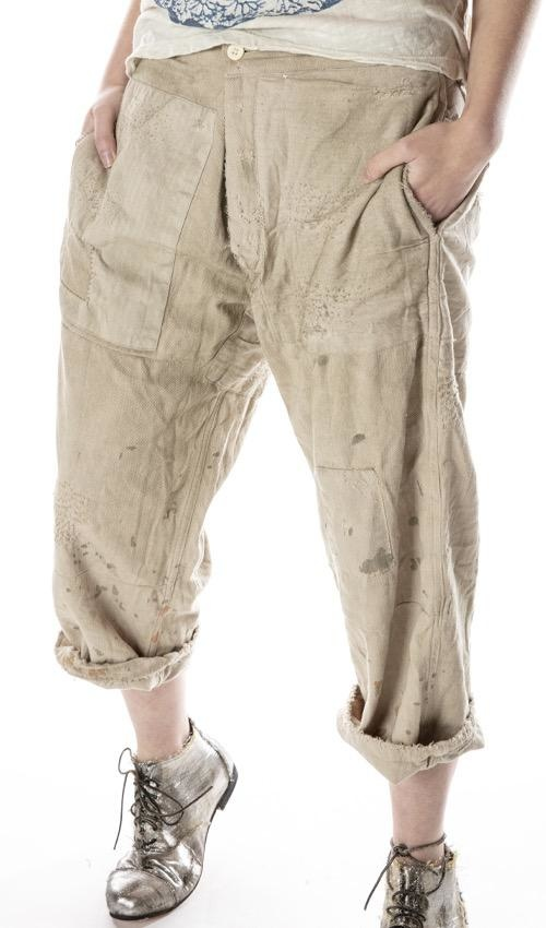Woven Cotton Lilou Trousers with Hand Aging, Distressing, Mending and Patching, Button Waist and Buckle At Back, Magnolia Pearl