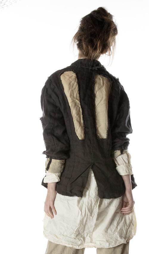 Cotton Twill Rag Jacket with Raw Edges, Distressing, Patching, Mending, Pockets and Buttons Down Front, Magnolia Pearl