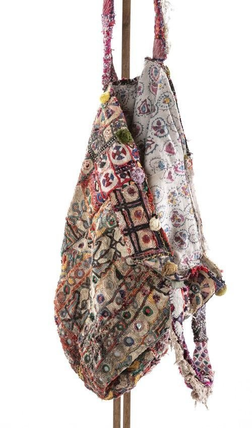 Antique Textile MP Tote with Tattered Lace, Embroidery, Velvet Trims and Natural Aging, Magnolia Pearl