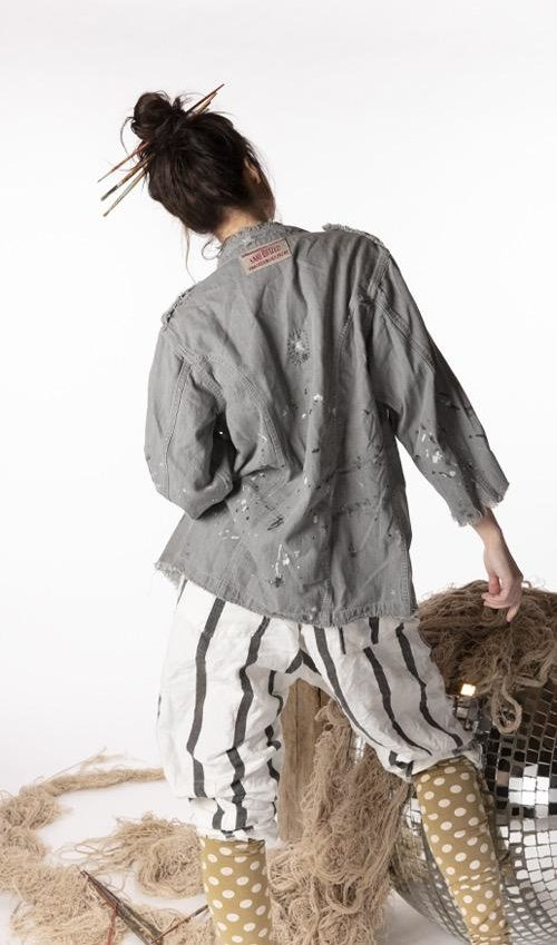 Cotton Denim Love Militia Coat with Hand Aging and Distressing, Paint and Stains, Magnolia Pearl