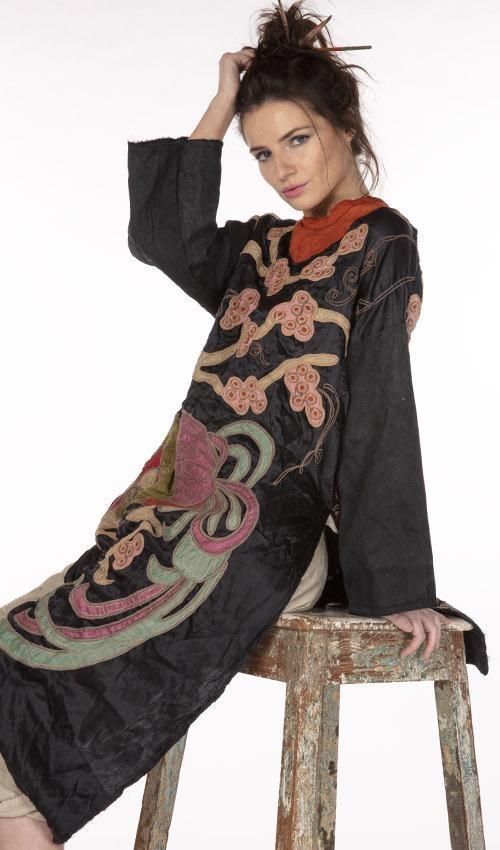 Cotton Silk Parnassus Tunic with Embroidery, Applique, Snaps At Neck, Distressed Edges and Shortened Back, Magnolia Pearl