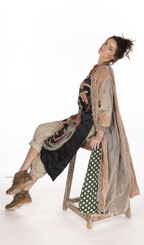 Cotton Velvet Printed OLeary Coat with Cotton Lace Placket, Distressing and Fading, Magnolia Pearl