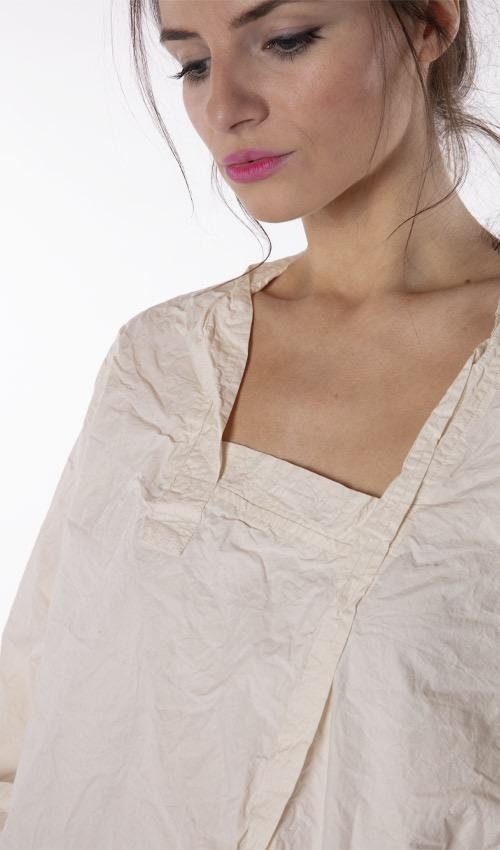 Cotton Poplin Isobeth Shirt with Quilted Asymmetrical Hem and Distressed Edges, Magnolia Pearl