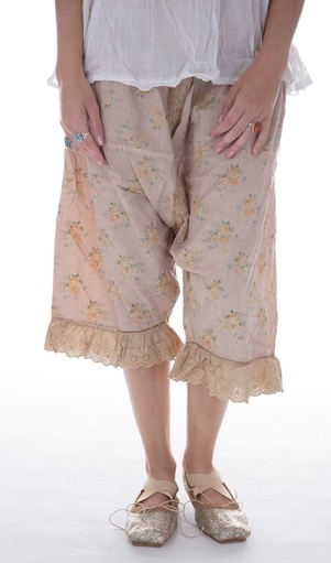 Cotton Routhie Bloomers with Side Buttons, Back Tie, and Cotton Lace - Magnolia Pearl