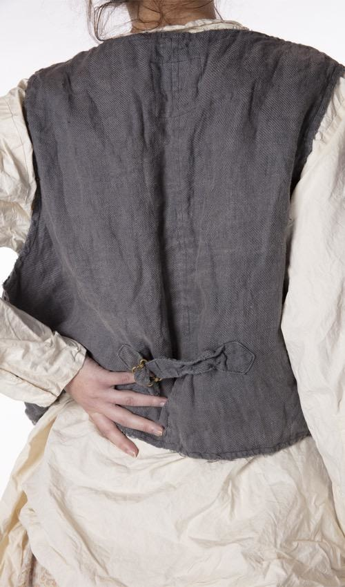 Woven Cotton Emmett Vest with Mixed Buttons and Snaps, Pockets, Distressing, Patching and Mending, Magnolia Pearl