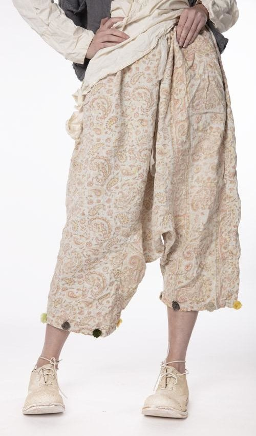 Quilted Cotton Hand Block Print Garcon Trousers with Drawstring Waist, Pom Pom Trim, Fading, Pockets and a Dropped Rise, Magnolia Pearl