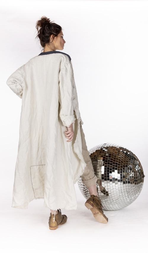 Raw Linen Emery Coat with Hand Mending, Patching, Mixed Buttons  and Raw Edges, Magnolia Pearl