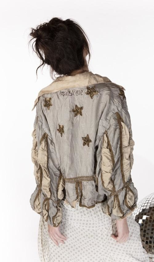 Silk Monique Jacket with Hand Sewn Sequins, Hand Distressing, Cotton Silk Lining, Gild Trim and Pleated Sleeves, Magnolia Pearl