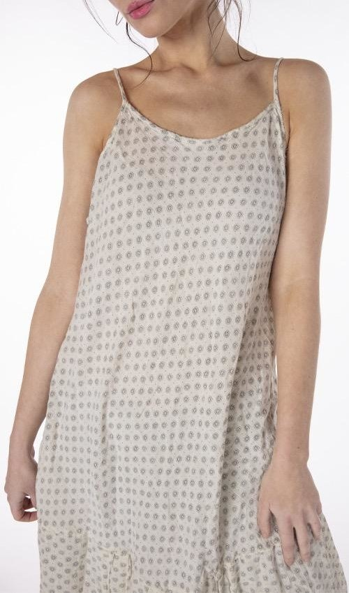 Cotton Twill Anya Slip with Adjustable Straps, Fading and Distressing, Magnolia Pearl