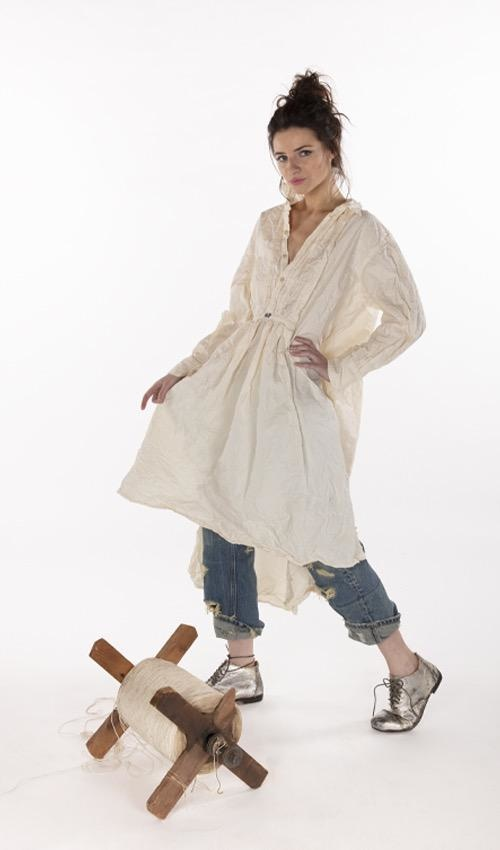 French Cotton Poplin Cordelia Night Shirt Dress with with Button Placket and Pintuck Bib, Magnolia Pearl