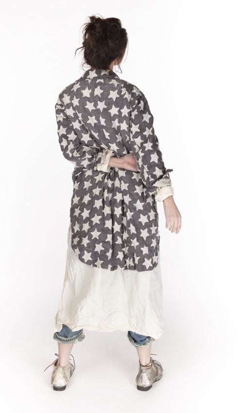Cotton Linen Star Applique Sidra Tuxedo Coat with Small Front Pockets and Snaps, Magnolia Pearl