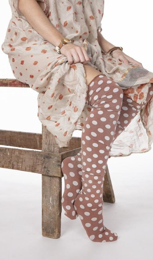 Cotton Jersey Karolina Stockings with French Seam, Magnolia Pearl