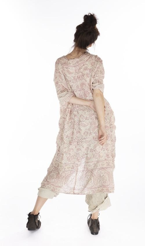 European Cotton Hand Block Print Talulah Artist Smock Dress with Fading and Raw Edges, Magnolia Pearl