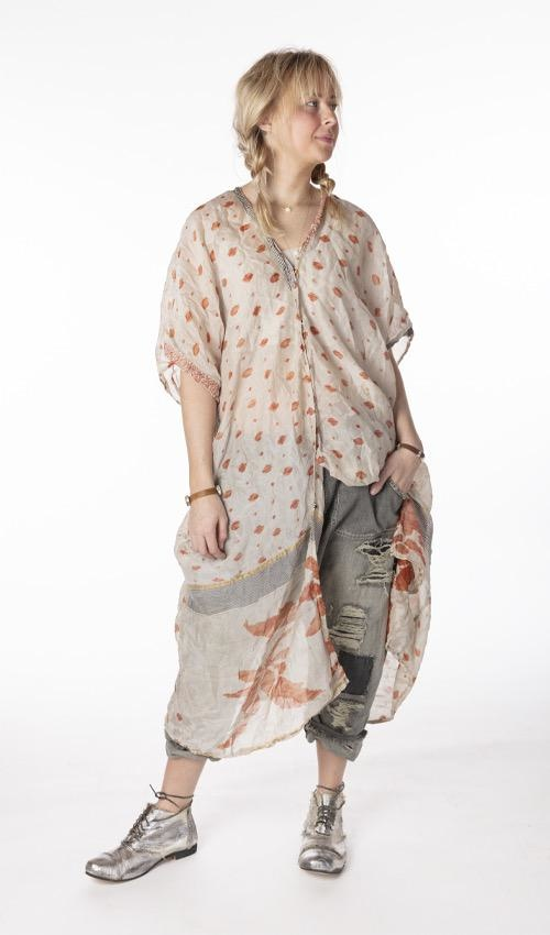 Silk Hand Block Print Jaya Kaftan  with Sunfading, Patching, Hand Mending and Snap Closures Down Front, Magnolia Pearl