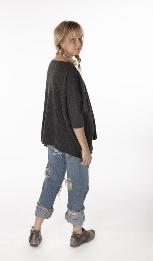 Handmade Cashmere Cable Knit Boxy Sweater, Magnolia Pearl