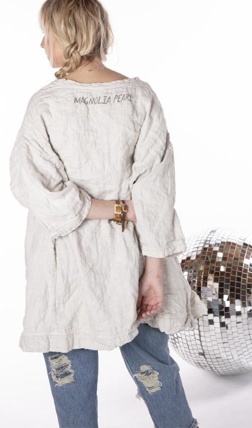 Quilted Oversized French Linen Francis Pullover with  Native Law Graphic, Magnolia Pearl