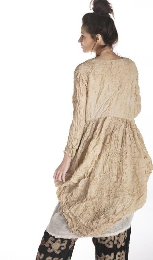 Silk Tussar Gathered Dress with Raw Edges and Button Front, Magnolia Pearl