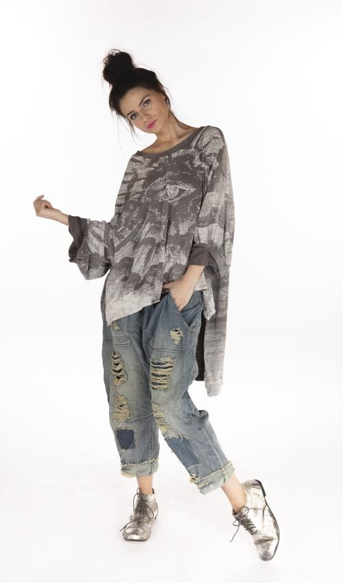 Cotton Jersey Oversized Hi Lo Freedom Of Conscience Francis Pullover T with Distressing and Fading, Magnolia Pearl