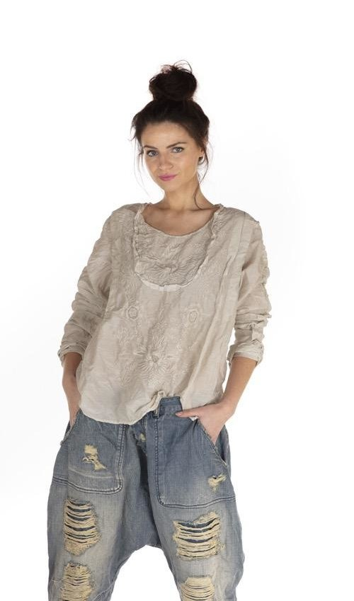 Cotton Silk Into The Groove Blouse with Embroidery, Ruffled Sleeve and Tie At Back, Magnolia Pearl