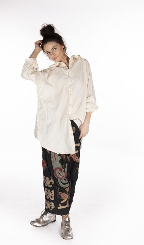 Cotton Poplin Atticus Shirt with Distressed Edges, Magnolia Pearl