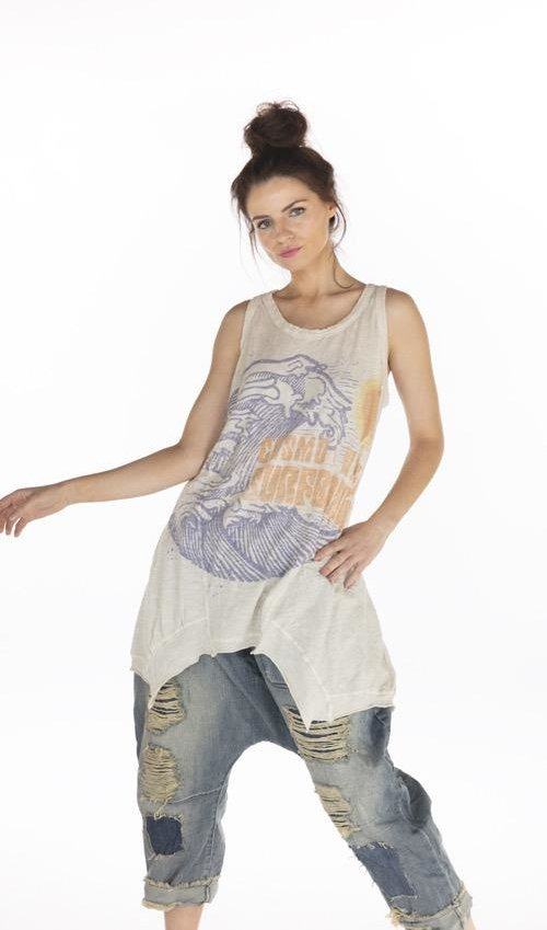 Cotton Jersey CW Surfboards Paz A Line Tank with Distressing and Fading, Magnolia Pearl