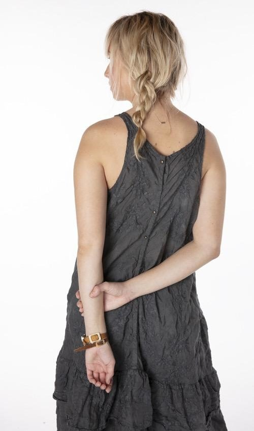 Linen Ramie Embroidered Livia Slip Dress with Ruffles at Bottom and Snaps at Back, Magnolia Pearl
