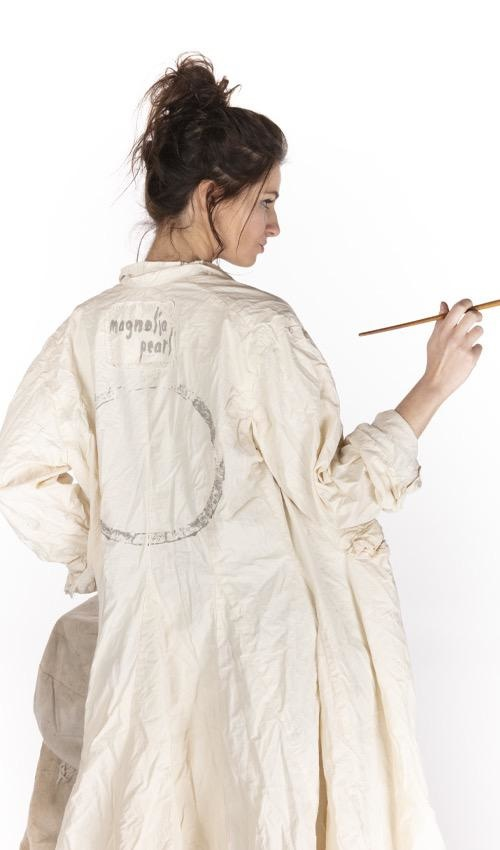 Cotton Poplin Eternity Jacket with Buttons Down Front, Pockets, Hand Printed Lining, Distressing and Raw Edges, Magnolia Pearl