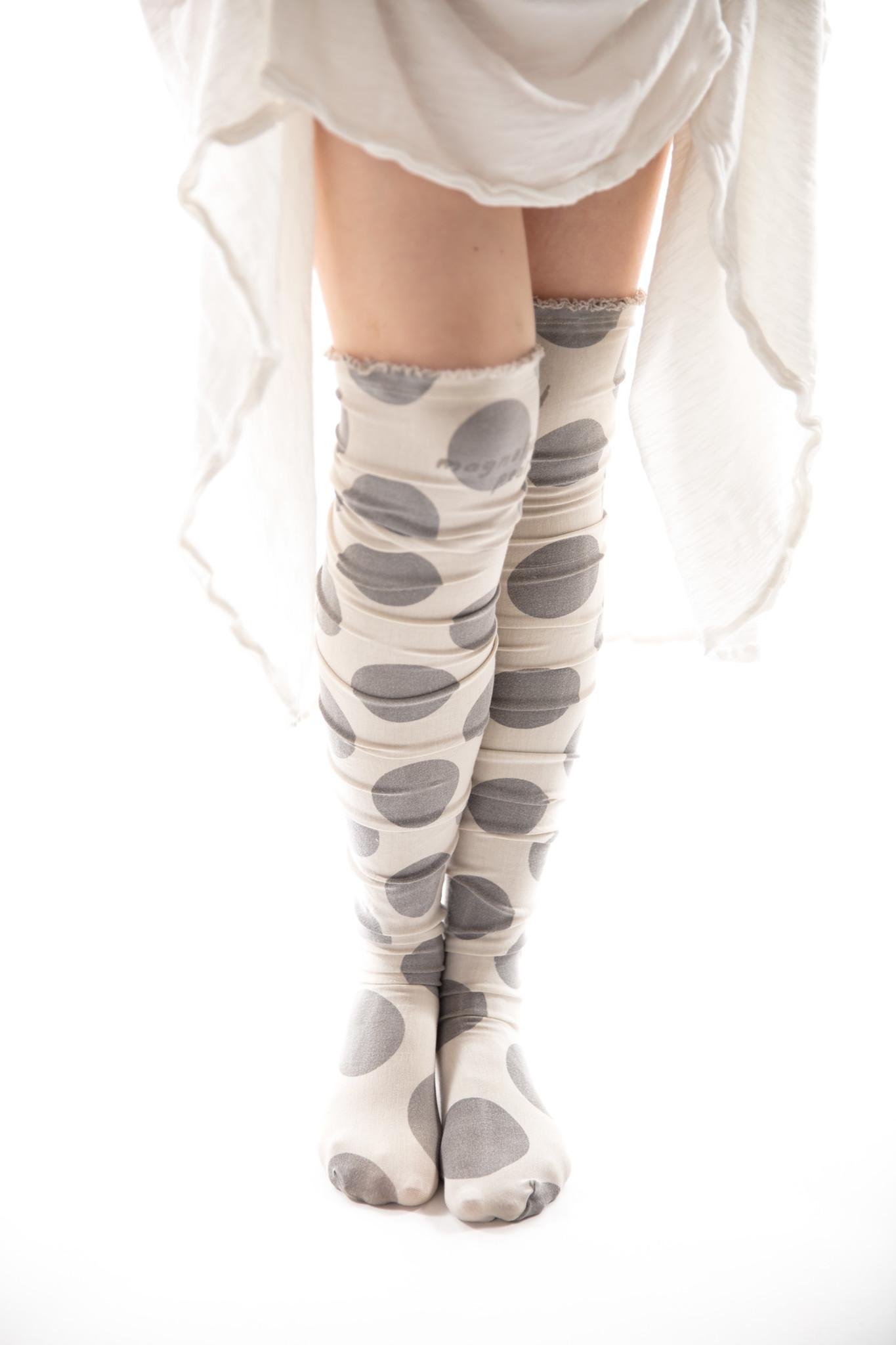 Cotton Jersey Karolina Stockings with French Seam, Magnolia Pearl
