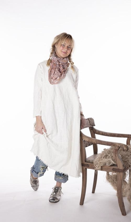 Hand Woven Cotton Linen Grace Dress with Everychanging Raw Edges and Distressing, Magnolia Pearl