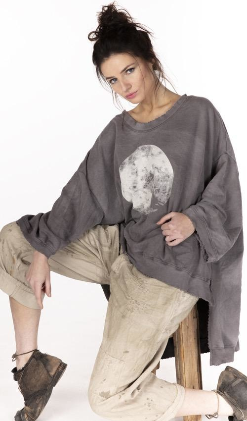 Cotton Knit Oversized Moon Hi Lo Francis Pullover with Distressing and Fading, Magnolia Pearl