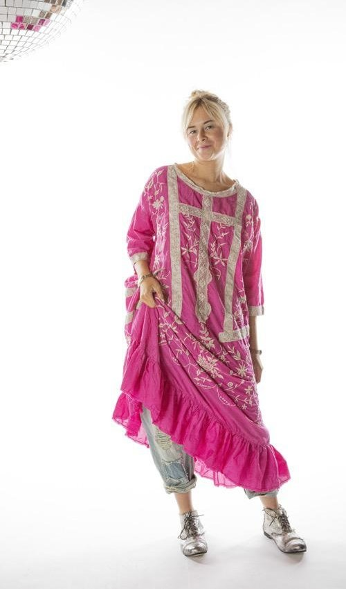 Cotton Silk Anna Grace Embroidered Roses Dress with Three Quarter Sleeves, Lace Details and Gathered Hem, Magnolia Pearl