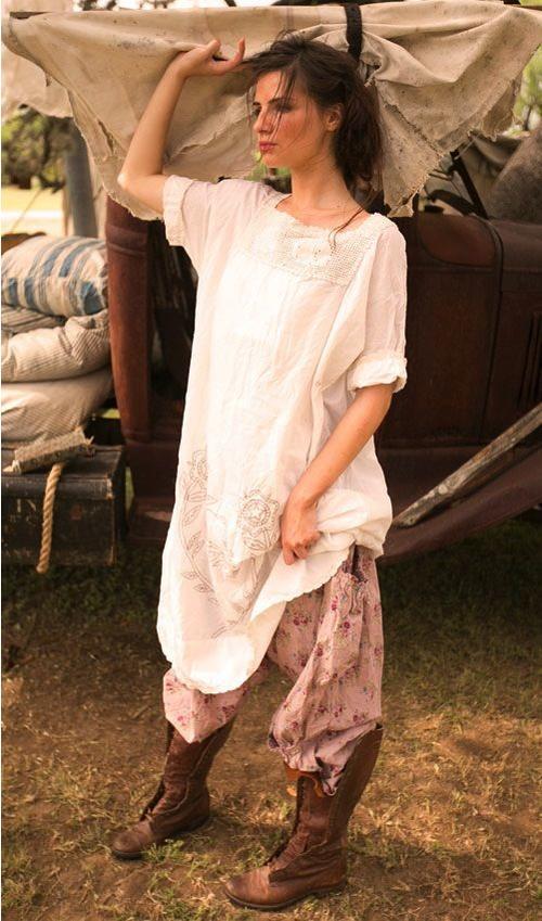 Cotton Bergie Rabbit Dress with Hand Crochet Yoke - Magnolia Pearl