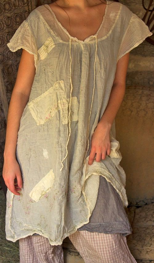 French Cotton Annora Peasant Dress with Hand Stitched Patches and Mending and Sewn in Underpinning - Magnolia Pearl