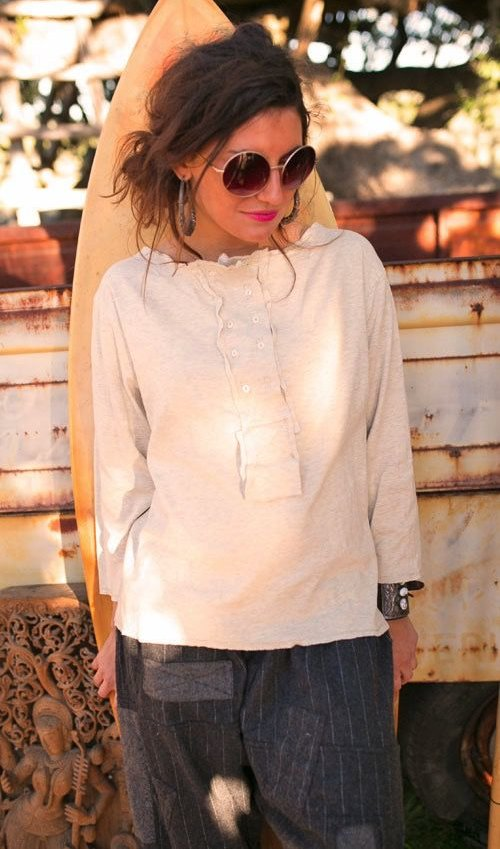 100 Percent Cotton Jersey Knit Ahna Klara Henley Top with Antique Buttons, Long Sleeves and Double Breasted Front - Magnolia Pearl