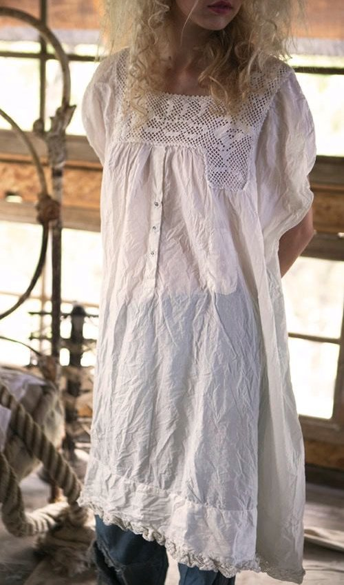 European Cotton Devigny Dress with Hand Crocheted Yoke, Hand Sewn Antiqued Snaps, and Cotton Lace Ruffled Hem