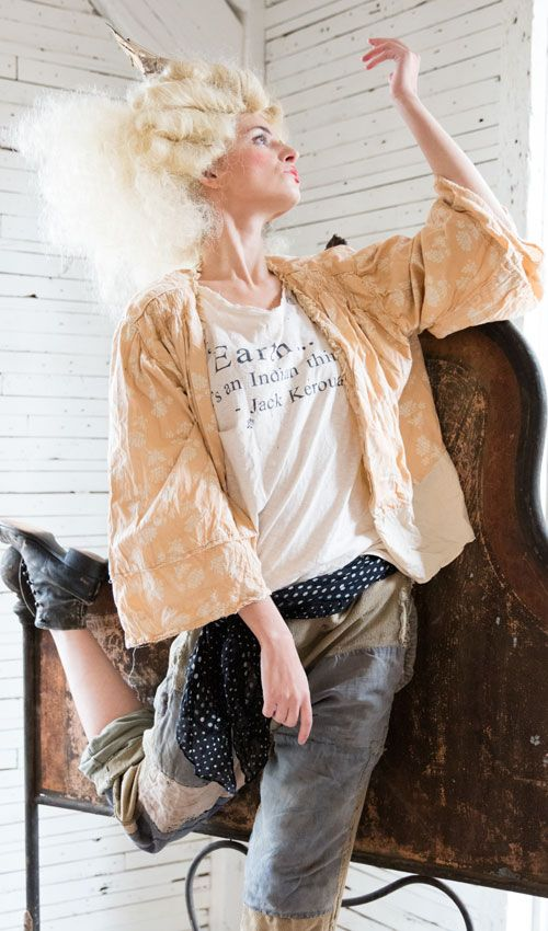 Handprinted French Cotton Maeko Jacket with Cotton Lace Collar, Hook and Tie Closure and Cotton Lining - Magnolia Pearl
