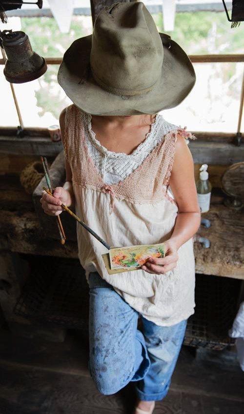 Cotton Queenie Tank withHand Crocheted Yoke, Silk Ties