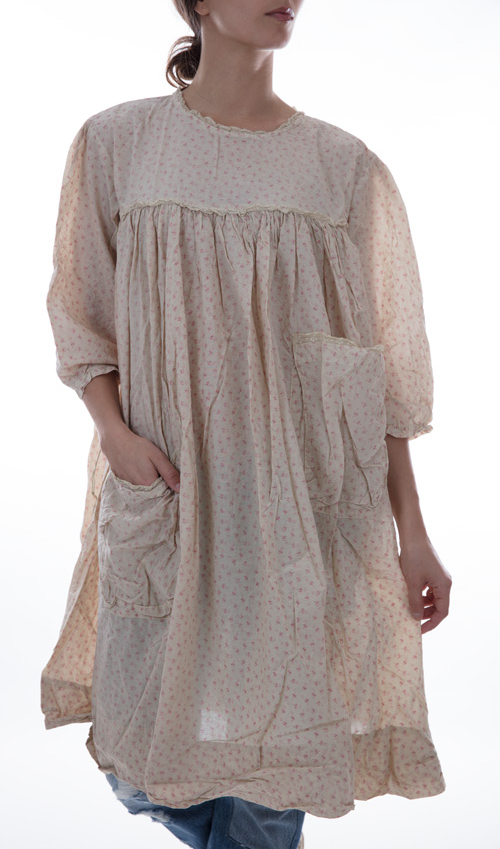 European Cotton Milah Dress with Front Pockets, Back Buttons, Cotton Lace and Three Quarter Drawstring Sleeves