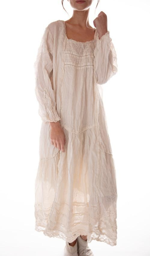 Linen Ramie Helenia Dress with Embroidered and Cotton Lace Details and Pintucks, Magnolia Pearl