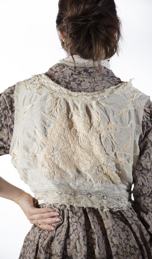 Cotton Silk Hand Embroidered Faustine French Wrap Tank with Tattered Lace and Silk Ties, Hand Distressing, Magnolia Pearl