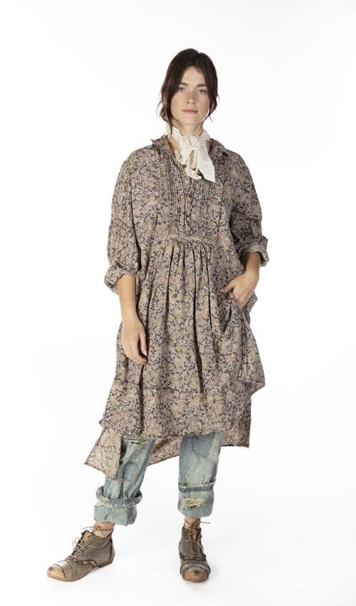 European Cotton Poplin Cordelia Night Shirt Dress with Button Placket and Pintuck Bib, Magnolia Pearl