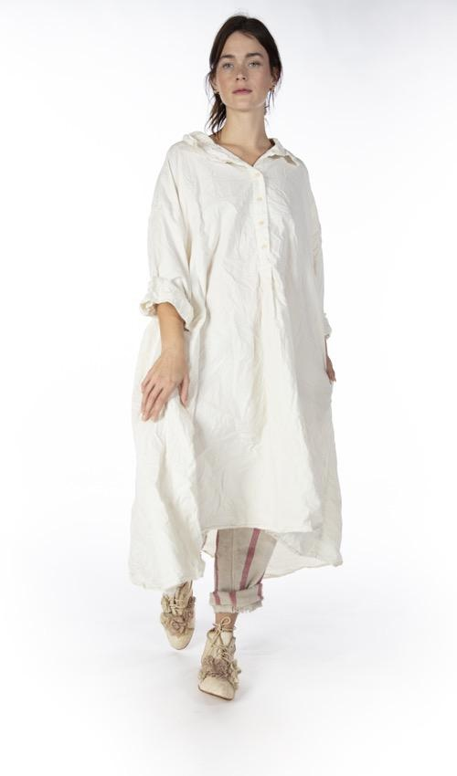 Cotton Poplin Gracia Shirt Dress with Buttons at Neckline and Hand Distressing, Magnolia Pearl