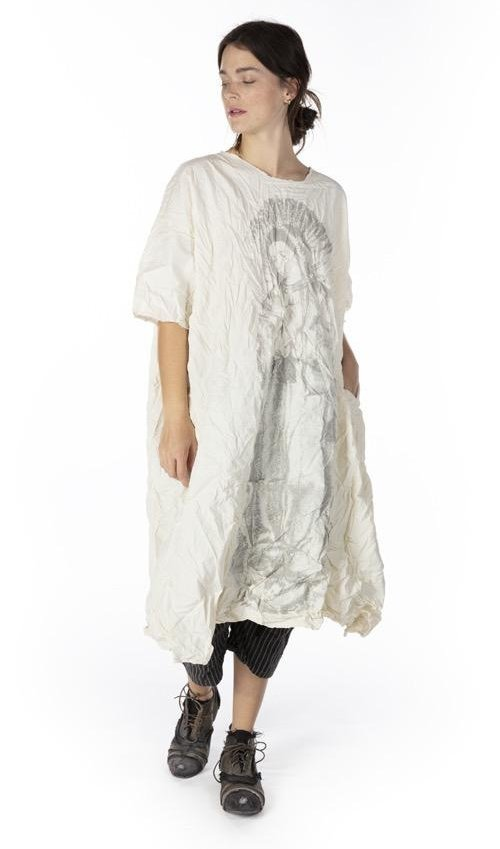 Cotton Poplin Immaculate Mary Artist Smock Dress with Raw Neck and Edges, Fading and Pockets, Magnolia Pearl