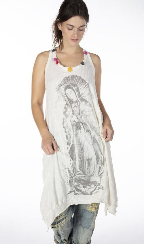 Cotton Jersey Immaculate Mary Paz A Line Tank Dress with Pom Pom Details at Neckline, Distressing and Fading, Magnolia Pearl