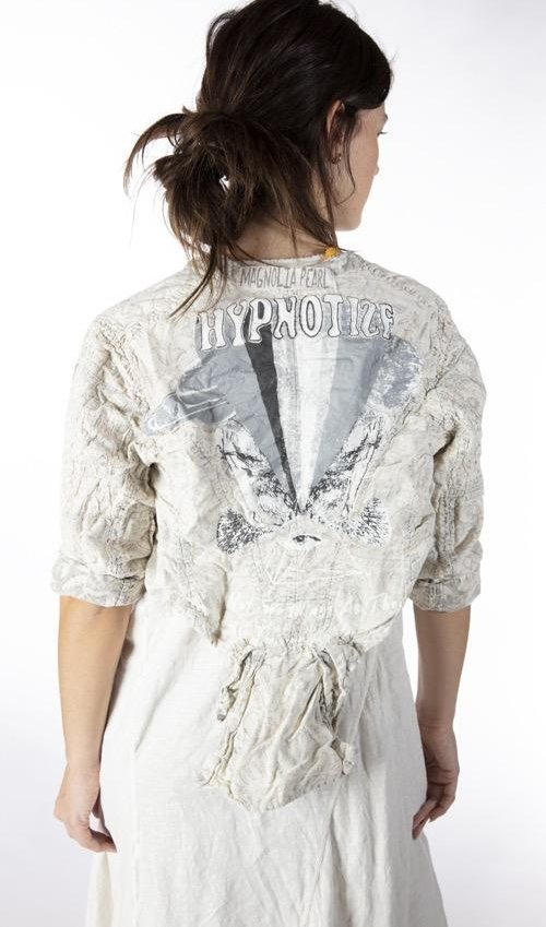 European Cotton Hand Block Print Inna Jacket with Hypnotize Graphic, Distressing and Fading, Antique Hooks, Magnolia Pearl