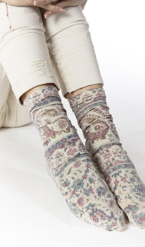 Cotton Lycra Chausette Short Stockings with Fading and Distressing, Magnolia Pearl